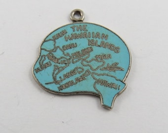 Enameled Map of all the Hawaiian Islands Sterling Silver Charm or Pendant.