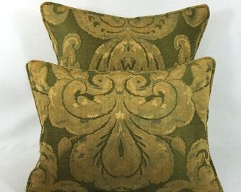 "Zoffany Fabrics ~ Brocatello ~ Green - Pair of  Cushion Covers - Pillow Throws 1 at  16"" x 16"" - 1 at 16"" x 12"""