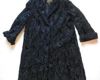 vintage Astrakhan real fur black coat made in Greece