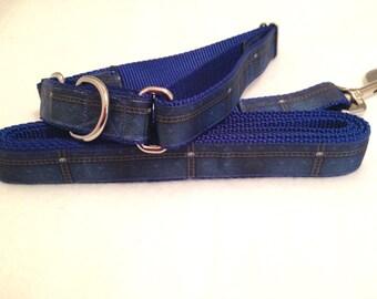 Denim Dog Collar, Denim Look Dog Collar, Denim Leash, Western Dog Collar, Rodeo Dog Collar, Martingale Dog Collar