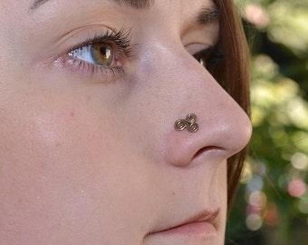 Gold Nose Stud, Tragus stud, Nose ring, Cartilage stud, Nose screw, Helix stud, Cartilage earring, Rook earring, Nose piercing 20 gauge
