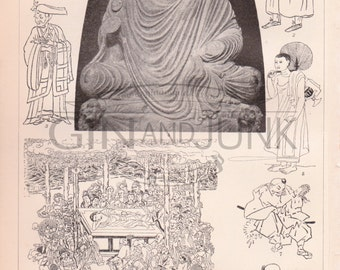 Antique Buddhism Lithograph - Vintage Buddhism Print from 1890