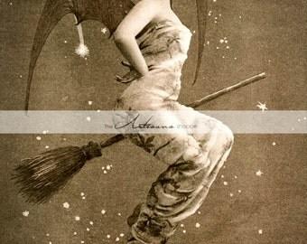 Digital Download Printable Art - Vintage Witch Bat Wings Victorian Image - Paper Crafts Scrapbook Altered Art - Halloween Witch Broom Art