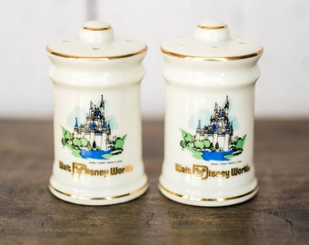 Vintage Walt Disney World Salt and Pepper Shakers - Ceramic Round Gold Accented Collectible Salt and Pepper Shakers - Retro Disney Kitchen