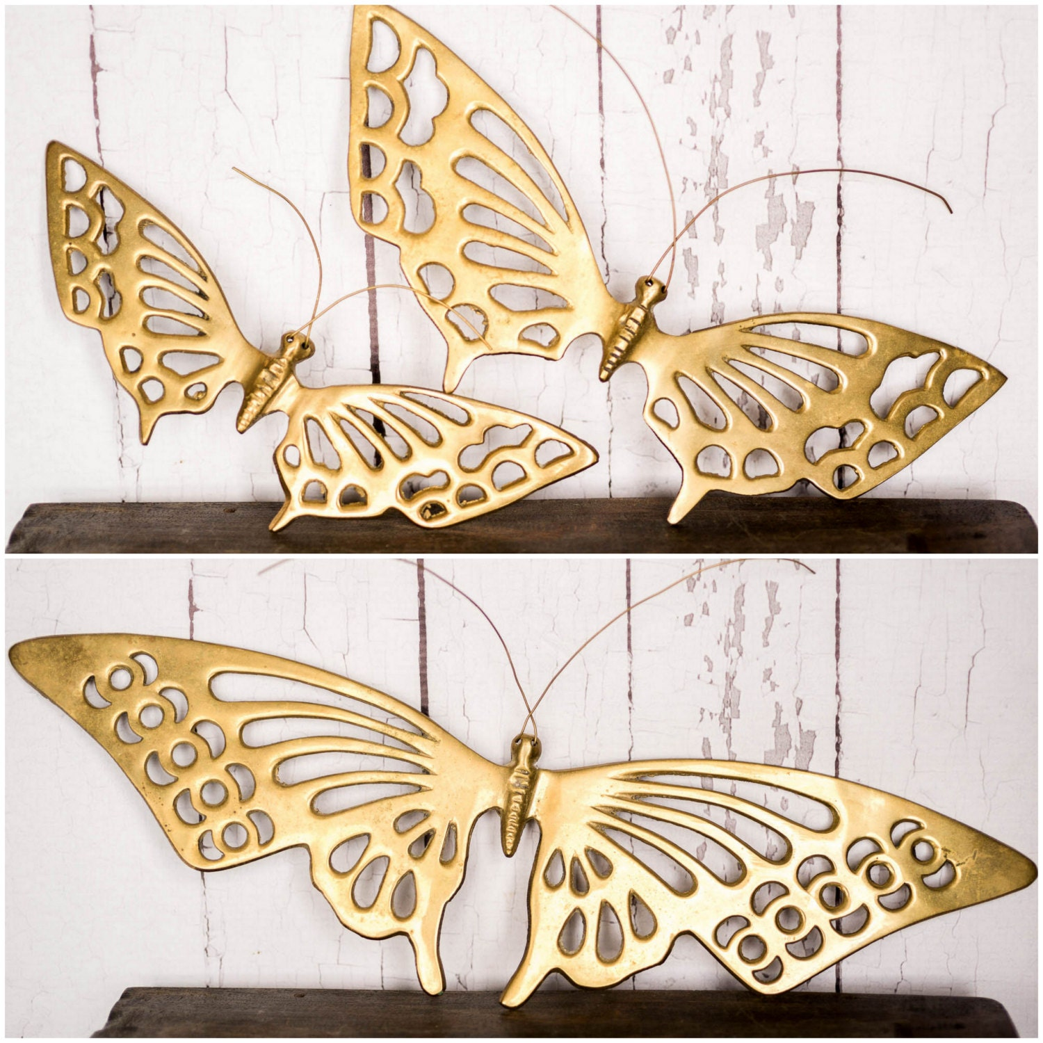 Hanging Butterfly Wall Decor : Vintage brass butterflies wall hanging decor butterfly art
