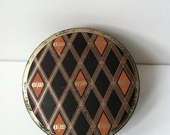 Vintage Ault & Wiborg Typewriter Ribbon Tin, Argyle Harlequin Pattern
