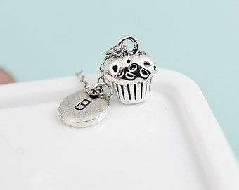 Silver Cupcake Charm Necklace, Cupcake Charm Necklace, Cupcake Necklace, Silver Necklace, Cupcake Pendant, Personalized Initial Necklace