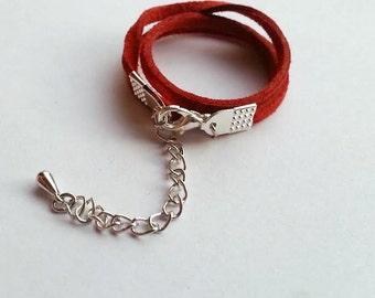 Thin Suede Choker Crimson