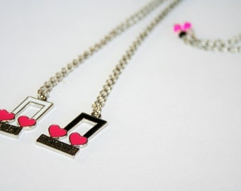 Jewelry Best Friends 2 necklaces with pendants pink music note silver black white / BFF best friends, children's gift, Christmas