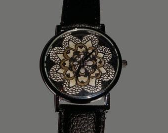 Original hand drawn black and gold Mandala watch
