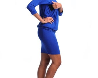 Breastfeeding dress/ Nursing dress/ Maternity/ Royal Blue dress/ Free Shipping