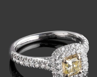 Radiant Yellow Diamond Engagement Ring, 1.04 TCW, Natural Fancy Yellow Radiant Cut Diamond Ring, Halo Engagement Ring, Yellow Diamond Ring