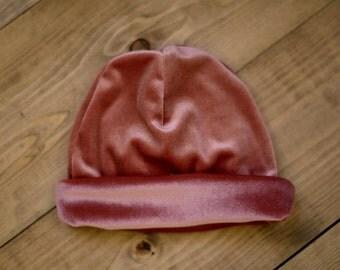PINK VELOUR BEANIE Hat