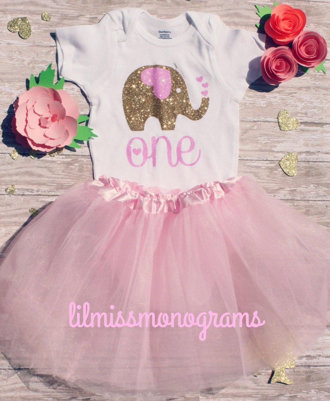 Ellie Custom Glitter Elephant First Birthday Outfit One