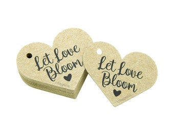 Let Love Bloom Tags, Rustic Favor Tags, Love Heart Tags, Rustic Paper Tags, Rustic Wedding Tags, Cream, White, Ivory, Brown Kraft Tags T092