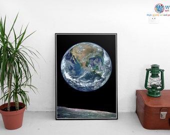 NASA Earth Rise Poster / print / art.  Planet Earth from the Moon.