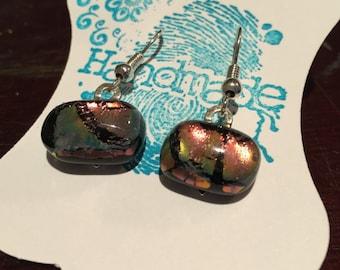 Handmade Dichroic metallic glass dangle earrings
