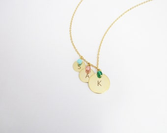 Three  Initial Tags Mother Necklace, Initial Three Sisters Necklace, Birthstone Triple Necklace, Gift for Sisters, Three Kids Necklace N297