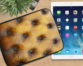 Tufted Leather Ipad Sleeve, Steampunk Antiqued Tufted Neoprene Tablet Sleeve, Ipad 2/3/4, Ipad Air Sleeve, Tablet Travel Case