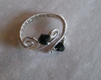 sterling silver ring , wire wrapped sterling silver , swarovski crystal ring , handmade jewelry.97