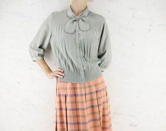Vintage 70s Pleated Skirt | Japanese Vintage Skirt | Hemp Mix Pastel Salmon Pink Skirt | Striped Summer Secretary Office Skirt | Small