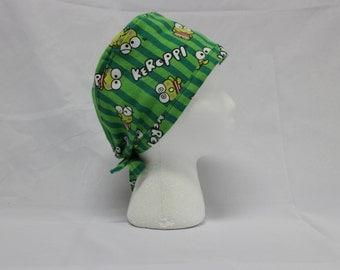 Kawaii Green Kero Cute Frog FLANNEL Surgical Scrub Cap Chemo Hat