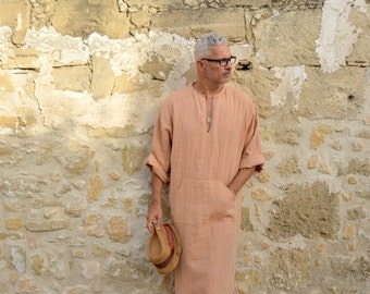 Mens soft orange linen tunic. Hood optional. Front pocket.
