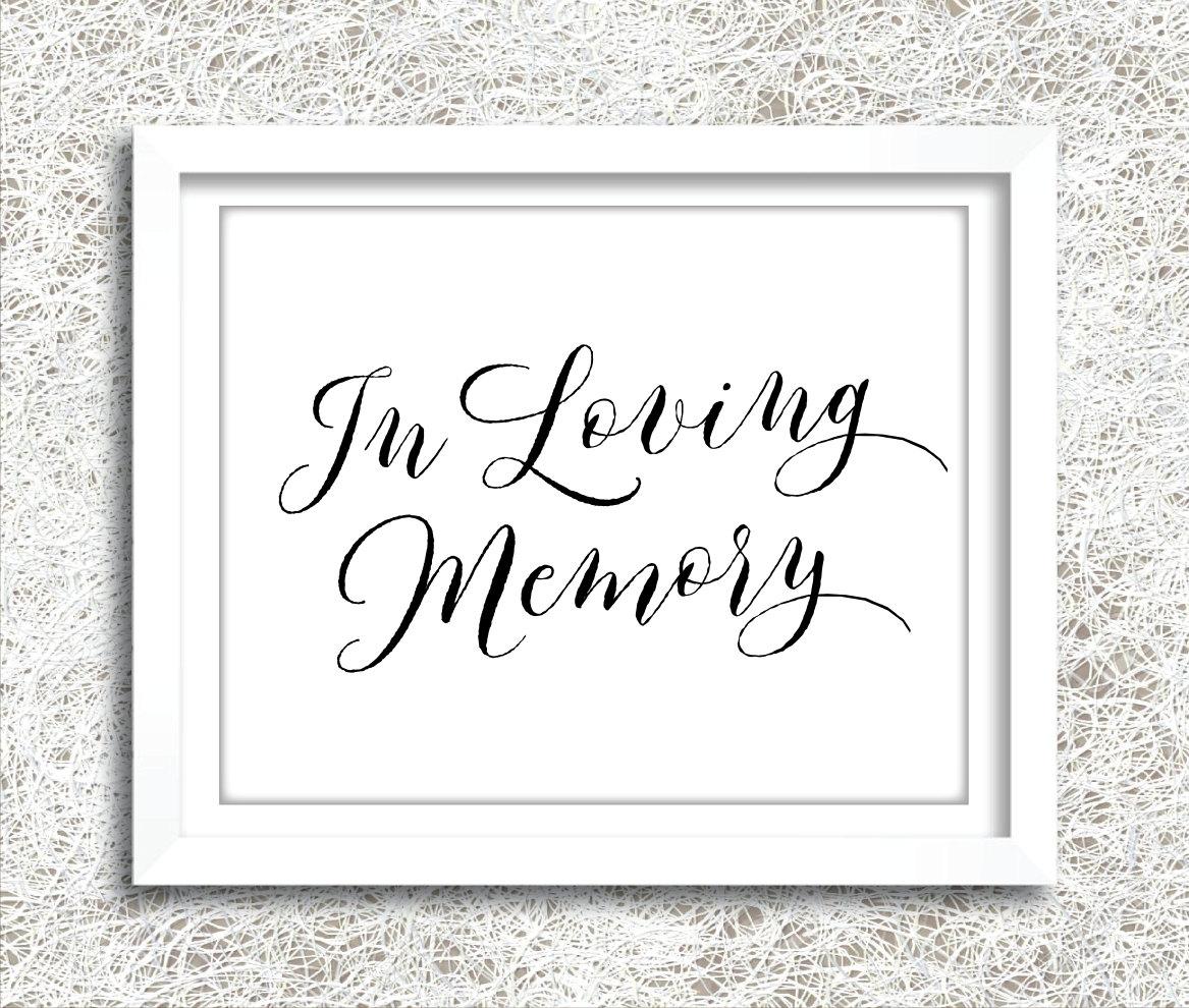 Printable in loving memory sign instant download wedding for In loving memory free printable