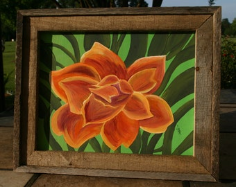 Floral Painting with Pallet Wood Frame