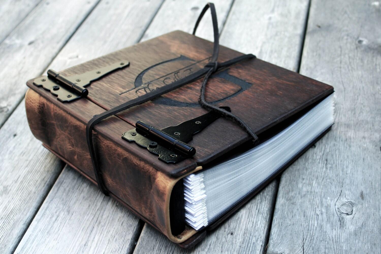 Monogram Photo Album Wood Leather Artist Portfolio Rustic Wedding Guest Book Idea Personalize Journal