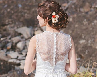 Bridal hair flower roses - set of 3, wedding hair flower, bridal flower pins, wedding flower pins, rose hair pin, clay flower, white rose,