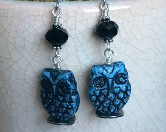 Czech Glass Owl Earrings - Blue and Black Owl Earrings - Czech Glass Jewelry - Owl Dangle Earrings - Owl Jewelry