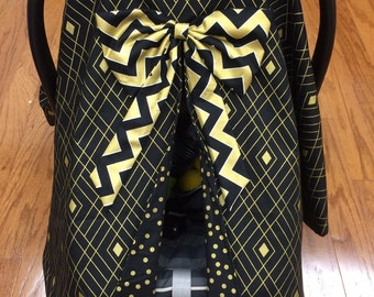 Gold & Black Car Seat Canopy