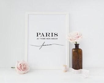 Paris Poster, Paris Decor, Minimal Art, Typography Poster, Fashion Poster, Paris Bedroom Decor, Paris Wall Art, Paris Print.