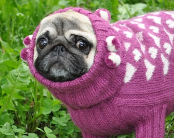 Knitting Pattern Pug Dog Sweater : Dog Sweater Knit Dog Sweater Sweater for Pug by ...