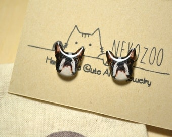 Boston Terrier Dog earrings handmade Tiny jewelry with linen cotton bag