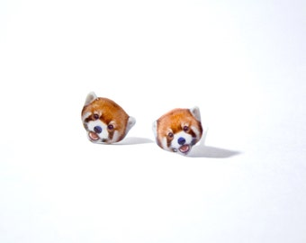 Red panda cute Jewelry Earrings with Swarovski Crystal, tiny jewelry, handmade items, Unique Gift with linen cotton bag