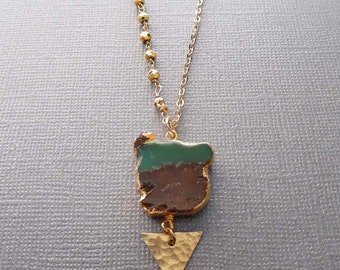 Chrysoprase Triangle Necklace / Natural Gold Edge Chrysoprase /Chrysoprase Pyrite Necklace / Brown Green Stone/Chrysoprase Triangle /GR10