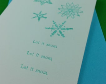 Let It Snow - Hand-printed Letterpress Christmas / Holiday Card