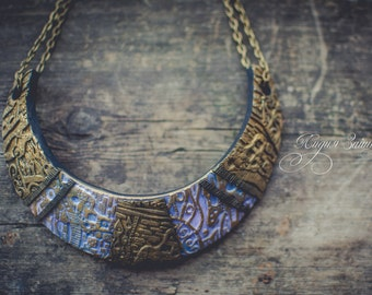 Blue and gold  Statement necklace large Bib necklace elegant necklace  Klimt necklace polymer clay necklace