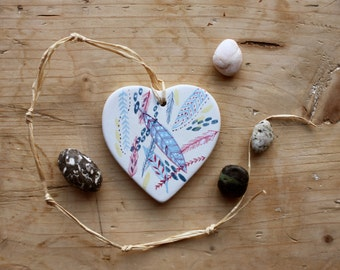 Hand-painted Ceramic Heart - Hanging Decoration