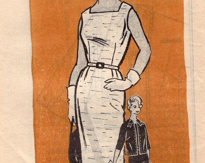 Free Us Ship Sewing Pattern Vintage Retro 1950s 50s Mail Order Dress Jacket Vintag plus size Bust 44 Uncut Printed