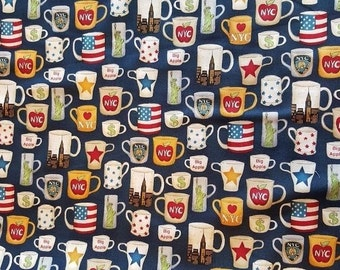 Coffee Cups on Navy Blue ~ Patriotic, Stars, US Flags, Statue of Liberty, New York City ~ Sold BTY
