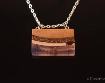Some hope, wooden pendant, nature pendant, resin necklace, wooden necklace, statement necklace, rose resin necklace, reclaimed wood.