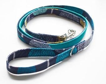 ORGANIC Dog Leash, Girl or Boy Leash, Blue, Turquoise, Yellow, Summer, 4ft to 6ft Leash