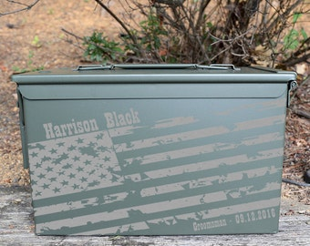 Personalized American Flag Ammo can for Groomsman, Groom or Best Man