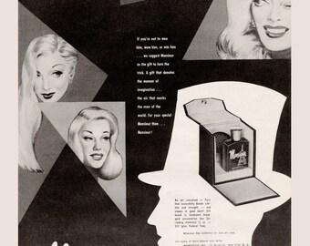 1950 Monsieur Men's Cologne Vintage Ad French Eiffel Tower Bottle