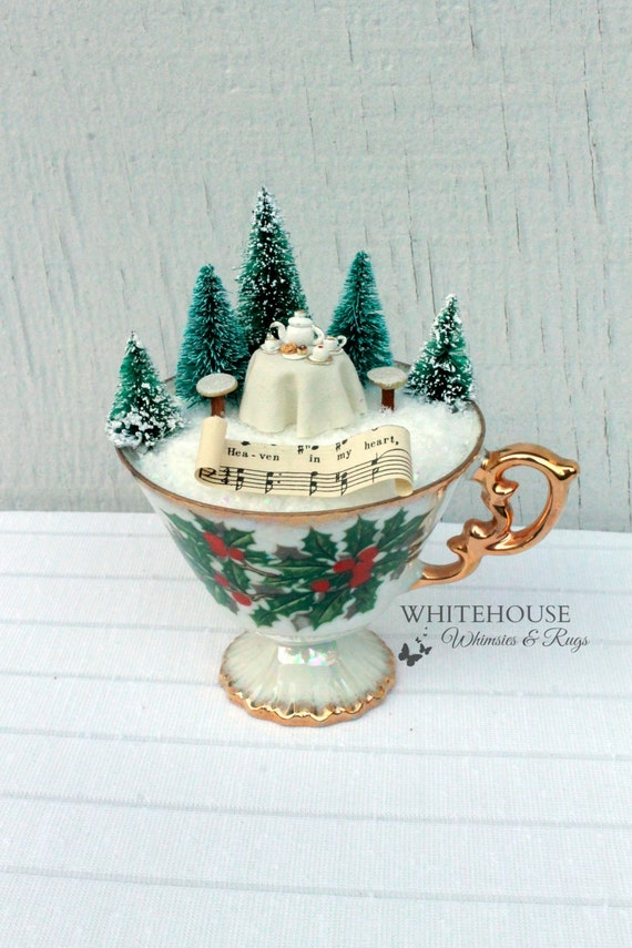 Christmas Tea Cup Fairy Garden Fairy Tea Set Fairy