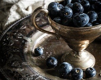 Still Life, Food Photography, Wall Art, Home Decor, Blueberries, Vintage Photography