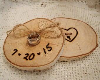 Rustic Wedding Ring Holder, Woodland Wedding, Wood Slice Wedding Ring Holder, Birch Log, Alternative Ring Bearer Pillow